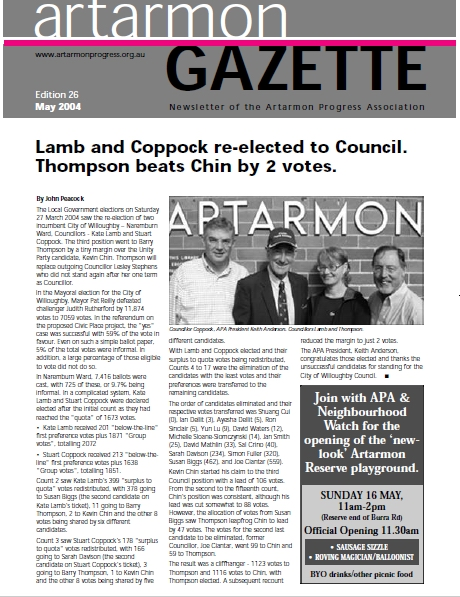 Artarmon Progress Association - Gazette